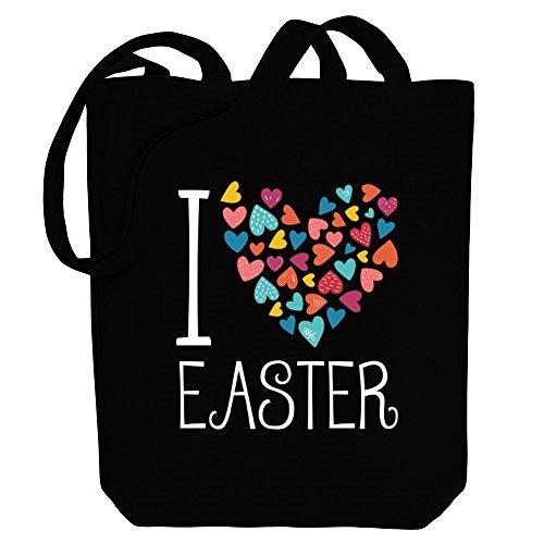 Idakoos I love Easter colorful hearts Bereich für Taschen ZeZNoB7o