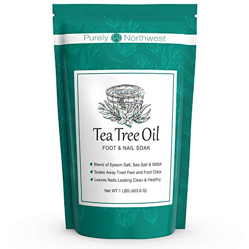 Tea Tree Oil Foot Soak with Epsom Salt - Made in USA, Alleviate Toenail Fungus, Athlete's Foot and Stinky Foot Odors. Softens Dry Calloused Heels, Leaving Feet Feeling Soft, Clean and Healthy -16oz (Best Foot Soak For Nail Fungus)