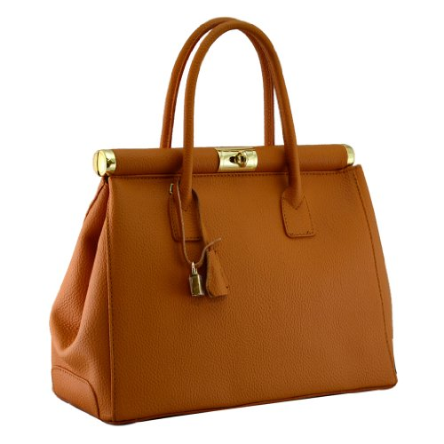 HS 1205 TG Minerva Made in Italy Leather Tan Structured Top Handle Bag