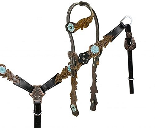 (Leather One Ear Bridle & Breastcollar w/ Cut Out Filigree & TEAL Painted Flowers)