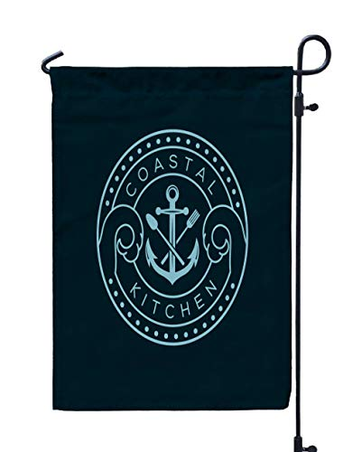 Shorping Welcome Garden Flag, 12x18Inch Anchor Knife Logo Template Icon Sign Symbol Suitable Restaurant Bar Coastal Kitchen Brand Related for Holiday and Seasonal Double-Sided Printing Yards Flags]()