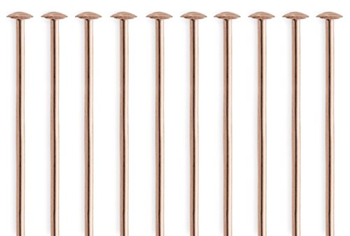 14k Gold Filled Head Pins (50 Pieces 14Kt Rose Gold Filled Head Pins 24 Gauge 1 inch)