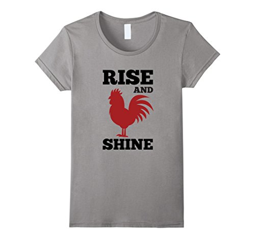 Sunrise Rooster - Womens Rise And Shine Chicken Morning Rooster Sunrise Farm T-Shirt XL Slate
