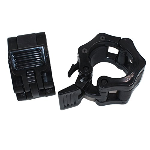 Bluespace Quick Release Barbell Clamp Collar Pair of 2 inch Olympic Size locking collar clamp - Great for CrossFit, OHP, Squats, Deadlifts, Cleans, Snatches(Black) (Custom Bar Pads)