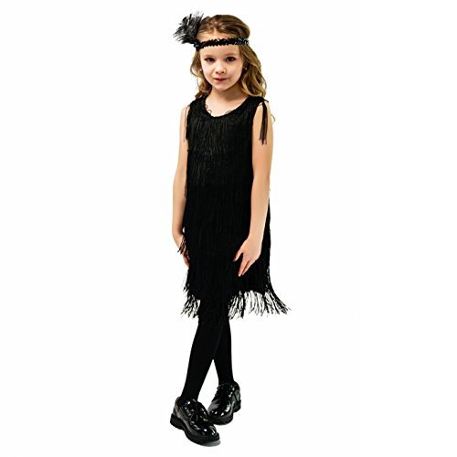Kids Girl's Fashion Flapper Satin Dress Costume (S, Black)