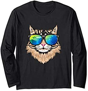 Sunglasses Maine Coon  Cat Lovers Holiday Cat Mom Long Sleeve T-shirt | Size S - 5XL