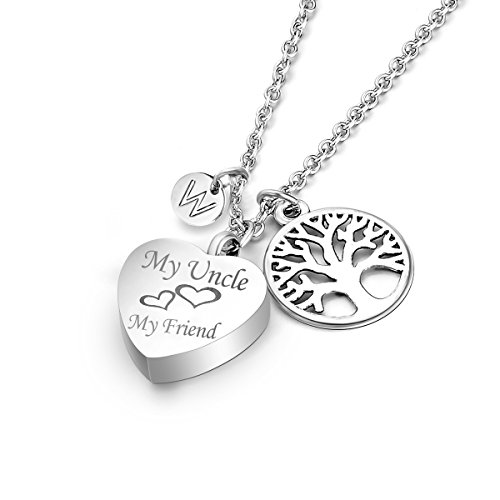 My Uncle My Friend Cremation Jewelry Letter W Tree Charms Memorial Keepsake Heart Urn Necklace For Ashes
