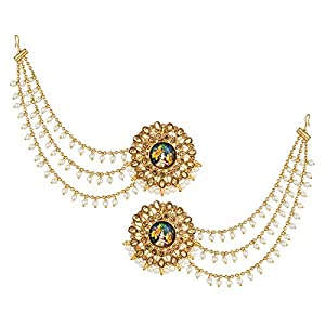 The Luxor Traditional Gold Plated Lord Radha-Krishna Temple Jewellery Latest Bahubali Hair Long Chain Earring for Women and Girls