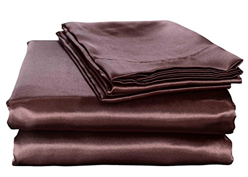 Silk Touch Cover (HONEYMOON HOME FASHIONS Ultra Luxury and Soft Satin Queen Bed Sheet Set - Chocolate)