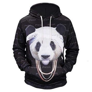 WEIYIGE Sudadera 3D Otoño E Invierno Juvenil Chaqueta De Hombre Casual 3D Panda Oro Cadena Impresión