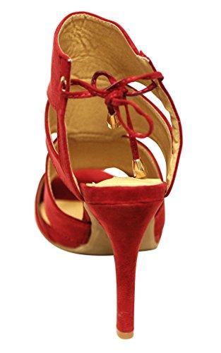 Cape Robbin Drew-jy-1 Donna Peep Toe Lato Posteriore Cava Chiusura A Strisce Sandali In Pelle Scamosciata Tacco Alto Rosso