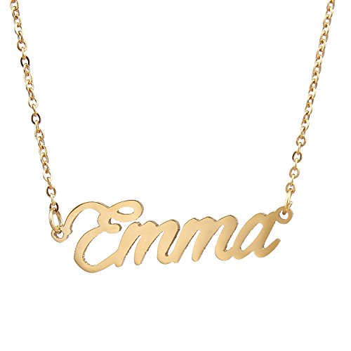 AOLO Gold Plated Name Charm Necklace Special Gift for Emma