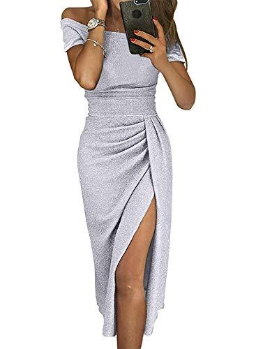 (Tiksawon Sequin Dress for Women Ladies Sexy Off Shoulder Slit Metallic Knit Ruched High Waist Slim Fashion Wedding Cockatil Evening Grown Light Grey L)