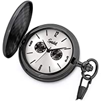 "Speidel Classic Brushed Satin Black Engravable Pocket Watch with 14"" Chain, Silver Dial, Seconds Hand, Day and Date Sub-Dials"