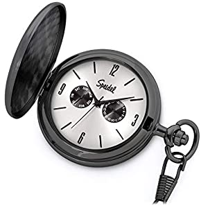 Speidel Classic Brushed Satin Engravable Pocket Watch with 14″ Chain, Seconds Hand, Day and Date Sub-Dials