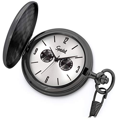 Date Pocket Watch - Speidel Classic Brushed Satin Black Engravable Pocket Watch with 14