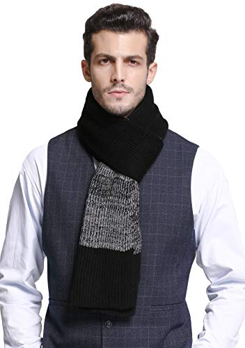 (RIONA Men's Winter Cashmere Feel Australian Merino Wool Soft Warm Knitted Scarf with Gift Box (Black))