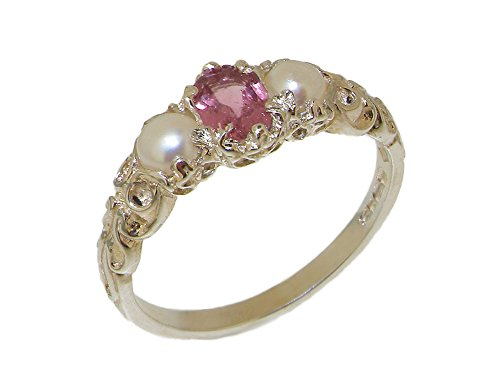 - 925 Sterling Silver Natural Pink Tourmaline & Cultured Pearl Womens Anniversary Ring - Size 8.25