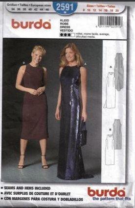 BURDA Sewing Pattern Dress, Robe, Vestido 2591 sizes 8, 10, 12,