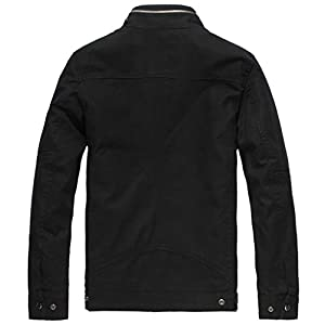 Wantdo Men's Cotton Stand Collar Lightweight Front Zip Jacket US Large Black