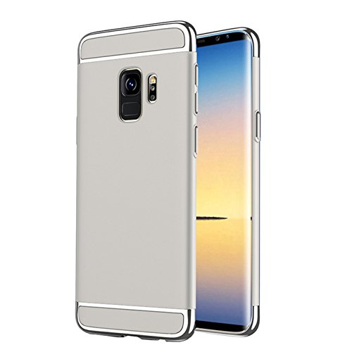 Funda Samsung Galaxy S9 Enchapado Tres en Uno, Moda Deslumbrante, Protección Del Medio Ambiente y Seguridad Para Carcasa Samsung Galaxy S9 (Rojo) Plateado
