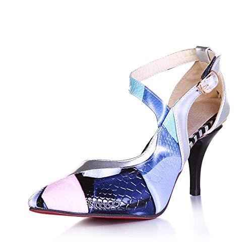 Grande Mezclados 44 Tacones Altos Partido Hoesczs Mujer Colores Tamaño Silver Finos 31 Sandalias Zapatos x8q6SU