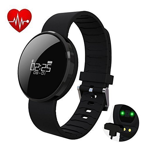 UWear UW1X Smart Watch Bracelet Fitness Activity Tracker Heart Rate and Blood Pressure Monitor Fitness Health Wristband,Bluetooth Pedometer with Sleep Monitor/Step Tracker/Calorie Counter (Black)