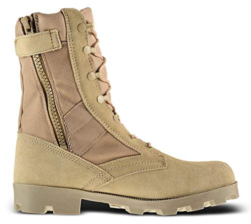 Men's 9 Inch Desert Tan Boots with Side Zipper for Work, Construction, Hiking, Hunting, Outdoors. Durable, Comfortable,True to Size. 6 Month Warranty (11 US, 45 EU)