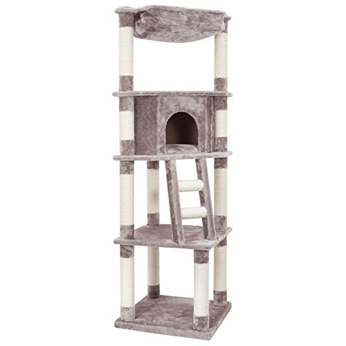 Ollieroo Large Cat Tree Condo Multi-level Cat Climbing Tower with Hammock Bed and Scratching Post Kitten Furniture Play House, Warm Grey (Coon Cat Maine Kitten)
