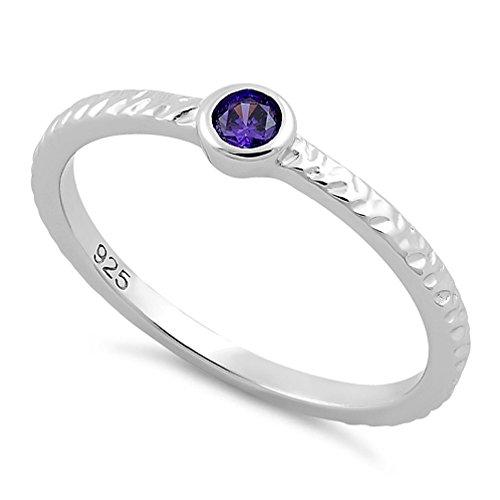 3 Stone Purple Ring - 4