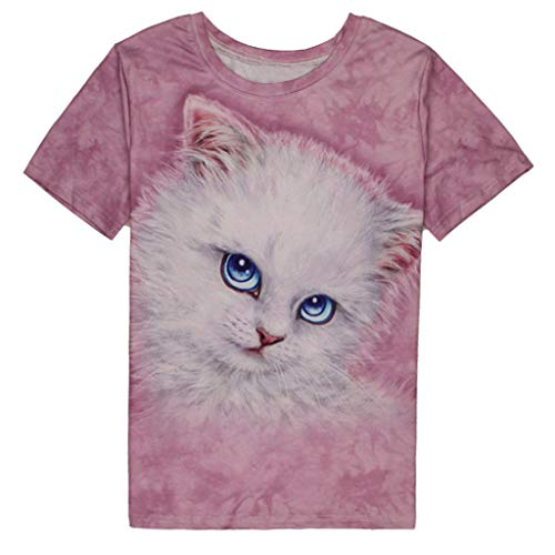 Plus Size Graphic Tees Women Short Sleeve T Shirts 3D Cat Printed Loose Tops Casual Oversize Blouse Pocciol