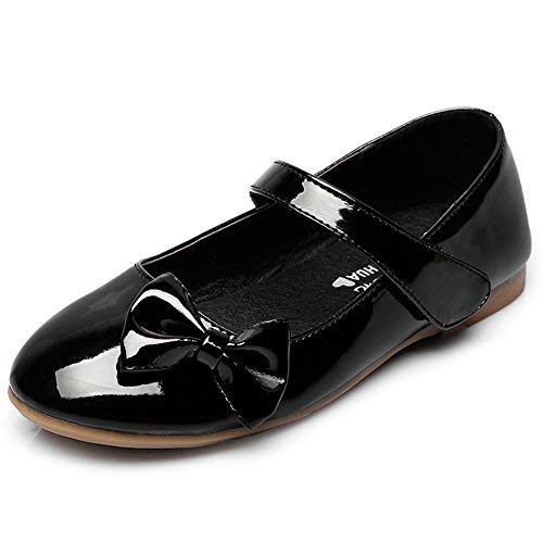 Girls Dressy Leather Shoes - Maxu Spring Autumn PU Girls Dressy Mary Jane Flats,Black,11M US Little Kid