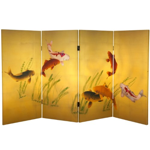 (Oriental Furniture 3 ft. Tall Double Sided Seven Lucky Fish Canvas Room Divider )