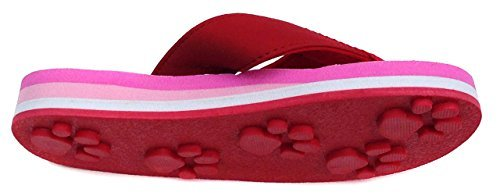 Tiger Red Small Kids Paw Print Flip Flops Fun for Beach, Trail and Pool. ()