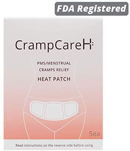 CrampCareH PMS/Menstrual Cramps Relief Heat Patch with Wide Wings, FDA Registered (5 Patches)