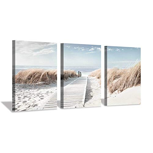 Coastal Beach Canvas Wall Art: Pathway to Shoreline Artwork Painting on Canvas for Office or Bedroom (16'' x 12'' x 3 Panels) (Large Beach Wall Art)