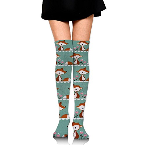 Ksipop Long Socks Cute Little Fox Organic Jersey Knee-High Tube Thigh-High Sock Stockings For Girls & Womens