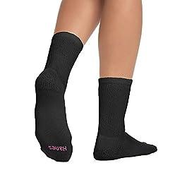 Hanes Cushioned Women's Crew Athletic Socks 10-Pack