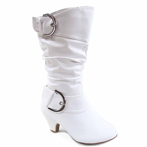 Lucky Top Auto-9k Girl's Kid's Cute Round Toe Buckle Dress Side Zipper Low Heel Boots Shoes (3, -