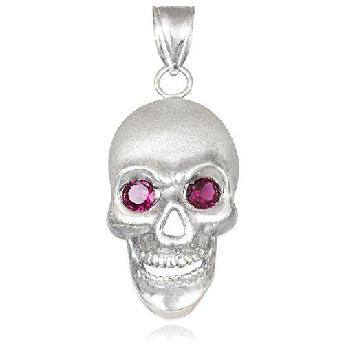 10 ct 471/1000 Or Blanc Schadel Avec Rouge Oxyde de Zirconium Eyes Pendentif Collier (Livre Avec un 45 cm Chaine)