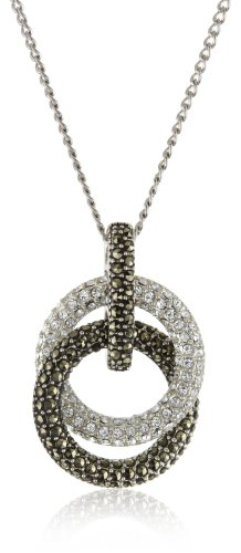 Judith Jack Sterling Silver Marcasite and Crystal Pave Knot Pendant Necklace, (Judith Jack Silver Necklace)
