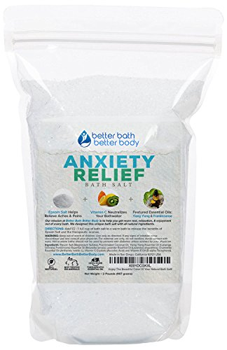Anxiety Relief Bath Salt 32oz (2-Lbs) Epsom Salt With Ylang Ylang & Frankincese Essential Oils Plus Vitamin C All Natural Ingredients - Destress, Relax, Relieve Tension Bath Soak - Chamomile Bath Soak