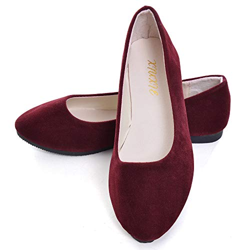 (Dear Time Women Flat Shoes Comfortable Slip on Pointed Toe Ballet Flats US 8.5 Red Wine)