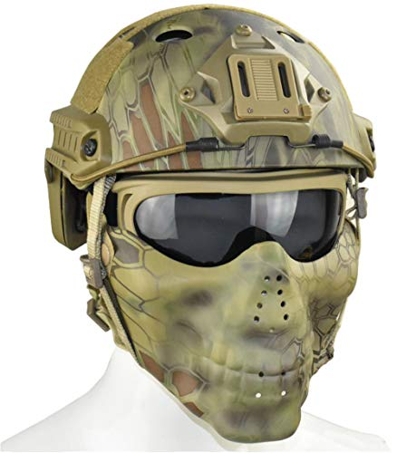 Jadedragon PJ Tactical Fast Helmet & Double Straps Half Face Skull Mask & Goggle (Jungle Python Lines)