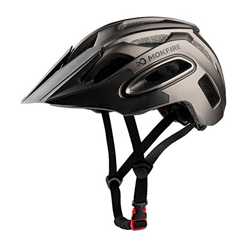 MOKFIRE Bike Helmet for Adults Men Women with USB Light & Visor, Bicycle Cycling Helmets CPSC Certified for Road and Mountain Biking, Adjustable Size 21.26-24 Inches