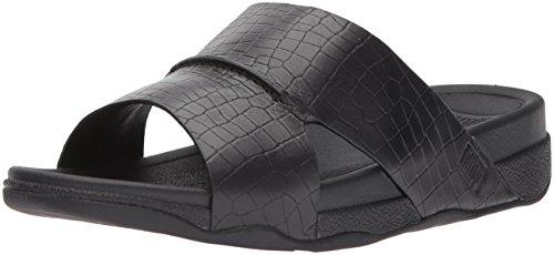 Slide Sandal Men's Black Leather fitflop Bando Croc IxU1vnA
