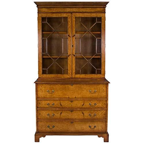 - English Classics Reproduction Antique Walnut Secretary Bookcase