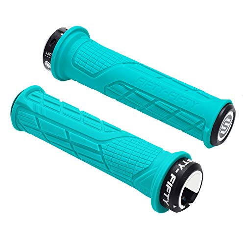 FIFTY-FIFTY Single Lock-on Mountain Bike Grips(Turquoise) (Best Mountain Bike Lock On Grips)