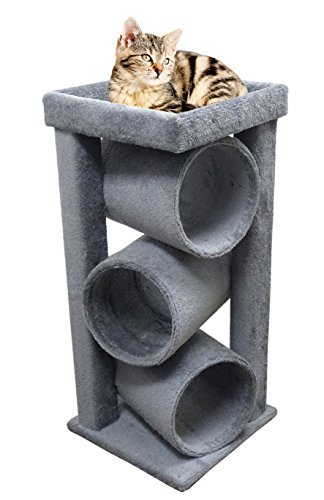 Cheap Cat Furniture Wood in Gray Modern Kitty Tower for Big Cats 44 inch