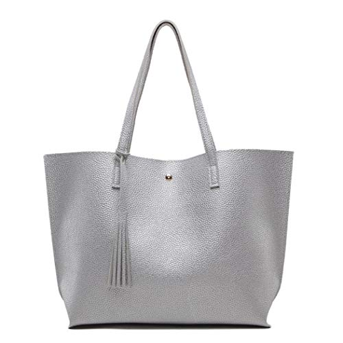 Nodykka Women Tote Bags Top Handle Satchel Handbags PU Pebbled Leather Tassel Shoulder Purse,One Size,Silver2